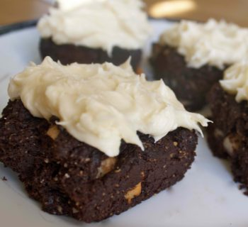 Walnut Brownies with White Frosting