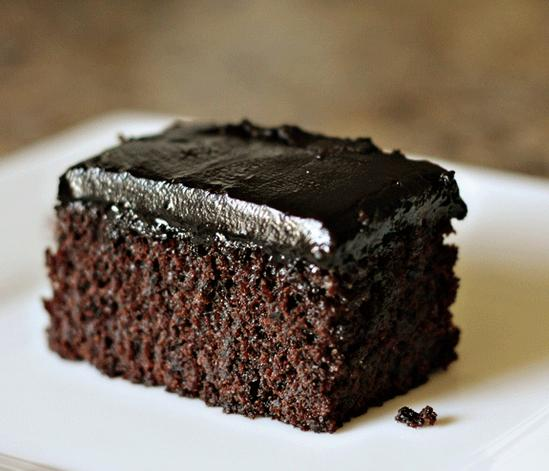 Moist and rich dark chocolate sheet cake covered in decadent chocolate ...