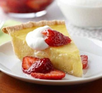 Lemon Buttermilk Pie with Strawberry-Lime Compote