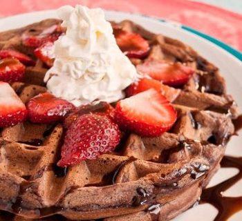 Chocolate Waffles with Sweetened Strawberry