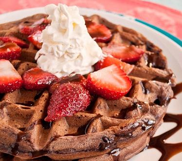Chocolate Waffles with Sweetened Strawberry
